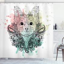 "Ambesonne Yorkie Shower Curtain, Sketch of a Yorkshire Terrier on a Bed of Flowers Black and White Drawing Art, Cloth Fabric Bathroom Decor Set with Hooks, 75"" Long, Black Teal"