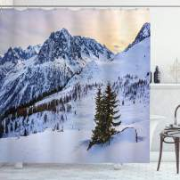"""Ambesonne Mountain Shower Curtain, Landscape of Snowy Mountain at Sunset Pine Trees Tranquility in Winter Theme, Cloth Fabric Bathroom Decor Set with Hooks, 84"""" Long Extra, White Green"""
