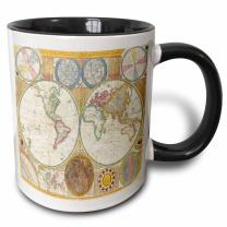 3dRose Image Of First Map Of Hemisphere And Solar System Two Tone Mug, 11 oz, Black