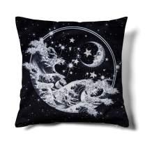 HMS Happy Memories Black and White Decorative Throw Pillow Covers Boho Bohemian Meditation Mandala Sun Star Moon Planet Space Velvet Cushion Cases for Couch Living Room 18x18 inches (Wave Half Moon)