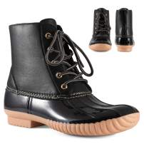 Twisted Shoes Becca Womens Rain Boots, Waterproof Wide Calf, Rubber Lace Up Duck Boot