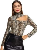ROMWE Women's Elegant Cut Out Mock Neck Long Sleeve Stretch Slim Blouse Top Tee
