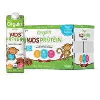 Orgain Organic Kids Protein Nutritional Shake, Chocolate - Great for Breakfast & Snacks, 21 Vitamins & Minerals, 10 Fruits & Vegetables, Gluten Free, Soy Free,  8.25 oz, 12 Count (Packaging May Vary)