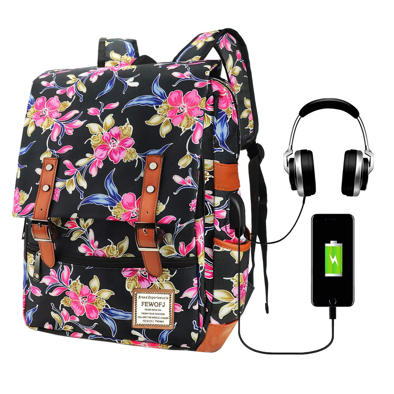 Vintage Laptop Backpack for Women, 15.6inch USB College School Bookbag - Floral