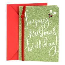 Hallmark Christmas Birthday Card (Green Glitter)