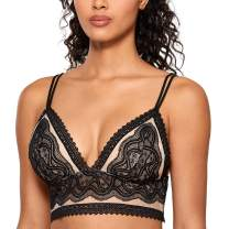 DOBREVA Women's Lace Bralette Sheer Sexy Plunge Lightly Padded Wireless Bra