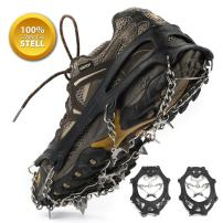 Weanas Ice Cleats Crampons Traction, Ice Snow Grips for Boots Shoes, Anti Slip Stainless Steel Spikes Safe Protect for Hiking Fishing Walking Climbing Jogging Mountaineering 1 Pair