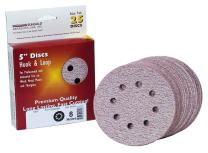 """Sungold Abrasives 024073 5"""" By 8 Hole 100 Grit Premium Plus C Weight Paper Hook And Loop Sanding Discs, 25-Pack"""