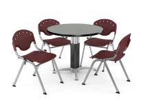 """OFM Core Collection Breakroom Bundle, 36"""" Round Metal Mesh Base Multi-purpose Table in Gray Nebula, 4 Rico Stacking Chairs in Burgundy"""