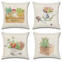 JOJUSIS Summer Throw Pillow Cover Succulent Potted Plants Cotton Linen Home Decor Decorative Cushion Cases 18 x 18 inch Set of 4