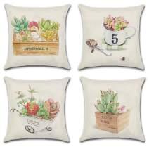 JOJUSIS Summer Throw Pillow Cover Succulent Potted Plants Cotton Linen Home Decor Decorative Cushion Cases 18 x 18 inch Set of 4