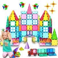 HOMOFY Kids Magnetic Tiles Toys 75Pcs Oversize 3D Magnetic Building Blocks Tiles Set,Building Construction Educational STEM Toys for 3 4 5 6 Year Old Boys Gilrs Gifts
