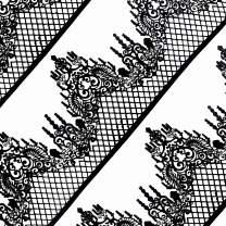 Funshowcase Large Pre-Made Ready to Use Edible Cake Lace Lattice Diamond Scallop 14-inch 10-piece Set Black