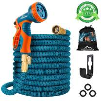 "Gpeng Sunhoo 50ft Expandable Garden Hose, Upgraded Water Collapsible Hose with 9 Function Spray Nozzle, Durable 3-Layers Latex Core with 3/4"" Solid Brass Fittings, Lightweight Expanding Flexible Hose"