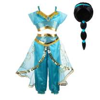 Tacobear Jasmine Costume for Girls Arabian Sequined Princess Dress Up Princess Cosplay Costumes for Kids