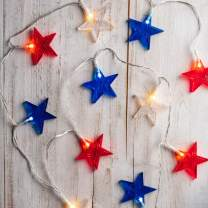 Lights4fun, Inc. 12 Red, White and Blue Star Indoor Battery Operated LED String Lights
