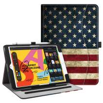"Fintie Case for New iPad 7th Generation 10.2 Inch 2019 - [Corner Protection] Multi-Angle Viewing Folio Smart Stand Back Cover with Pocket, Pencil Holder, Auto Wake/Sleep for iPad 10.2"", US Flag"