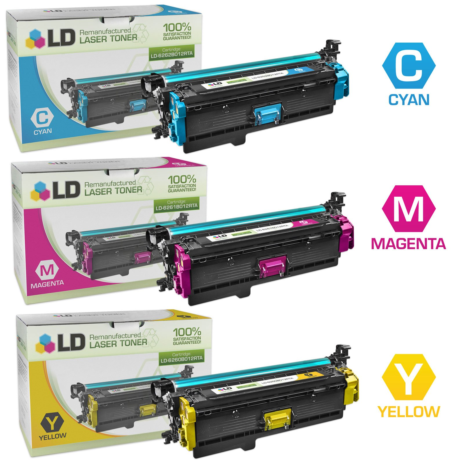 LD Remanufactured Toner Cartridge Replacements for Canon 332 (Cyan, Magenta, Yellow, 3-Pack)