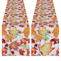 SoarDream Harvest Table Runner 2 Pieces 13x84 Inches Maple Leaves Printed Table Runner Wedding Outdoor Party Table Decorations Spring