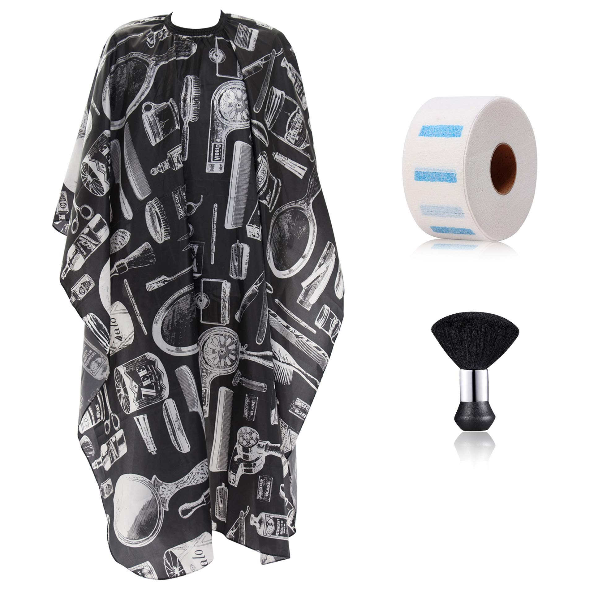 Bircen Barber Cape,Hair Cutting Cape for Salon and Home Use,Comes with Neck Duster Brush and Neck Strips Adjustable Buckle Design -55x63 Inch