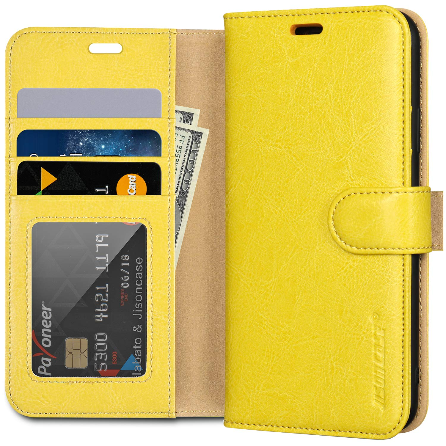 """JISCONCASE iPhone 11 Pro Max Wallet Case, Genuine Leather Flip Case iPhone 11 Max with Card Holder,Wireless Charging & Magnetic Closure Wallet Cover for iPhone 11 Pro Max,Yellow 6.5"""""""