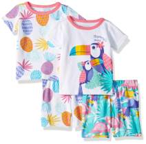 The Children's Place Baby Girls Four Piece Graphic Sleeve Top and Shorts Pajama Set