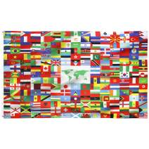 FLAGBURG World Flag Banner 5x8 FT, International Global National Flags Banner 216 Country, with Vivid Color, Double Stitched, Canvas Header and Brass Grommets for All-Weather Outdoor Display