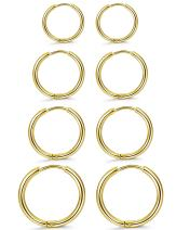 ORAZIO 4 Pairs Stainless Steel Hoop Earrings Set Huggie Earrings for Women,10MM-16MM