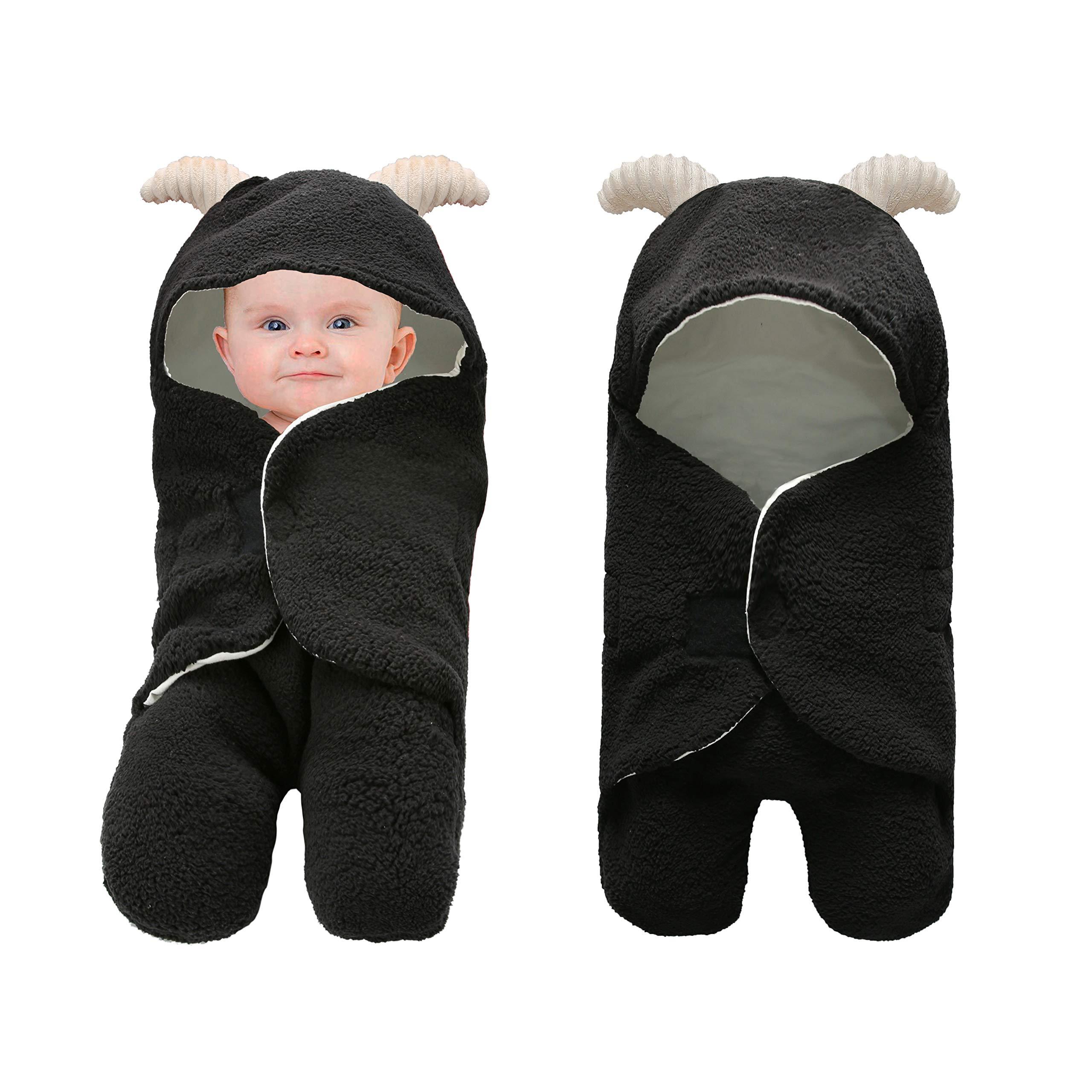 Pro Goleem Unisex Baby Swaddle Blanket Black Ultra-Soft 0-6 Month Receiving Wrap Shower Gift