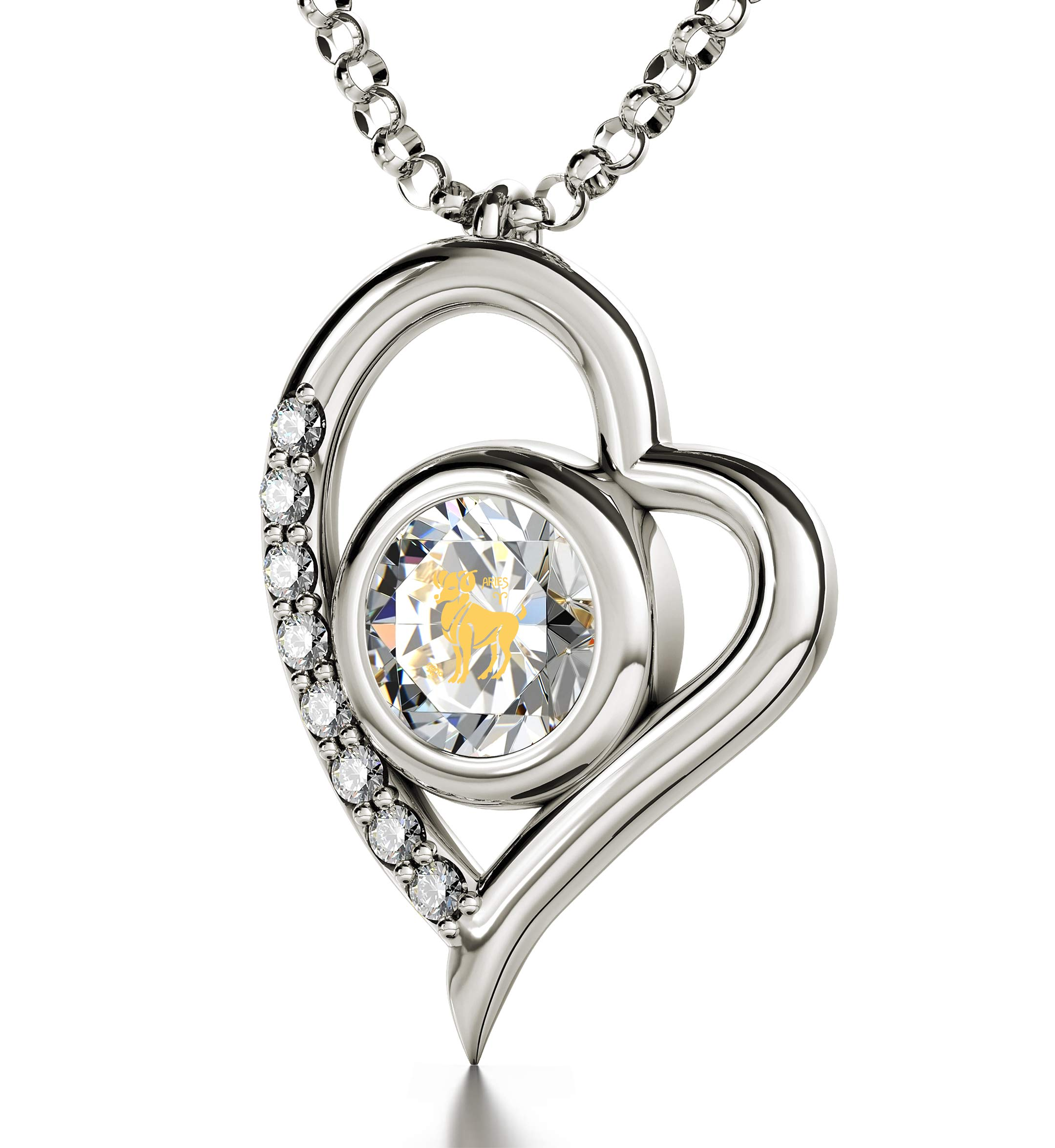"""925 Sterling Silver Aries Heart Necklace Zodiac Pendant for Birthdays 21st March to 19th April 24k Gold Inscribed with Star Sign and Symbol on Swarovski Crystal Stone, 18"""" Chain"""