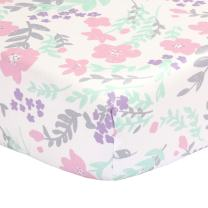 Pink, Green, Purple, Grey Floral Print Fitted Crib Sheet - 100% Cotton Baby Girl Flower Garden Theme Nursery and Toddler Bedding
