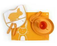 JJ Rabbit Starter Bundle   Toddler Feeding Set   Eco-Friendly BpA-Free Silicone Placemat (Orange Peel (Orange))   Baby Feeding Set   Kid's Meal Set   Children's Food   Childrens Food Set   Cute Baby