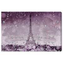 """The Oliver Gal Artist Co. Cities and Skylines Wall Art Canvas Prints 'Eiffel Glitter Plum' Home Décor, 36"""" x 24"""", Purple"""