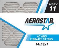 Aerostar 14x18x1 MERV 11, Pleated Air Filter, 14x18x1, Box of 6, Made in The USA