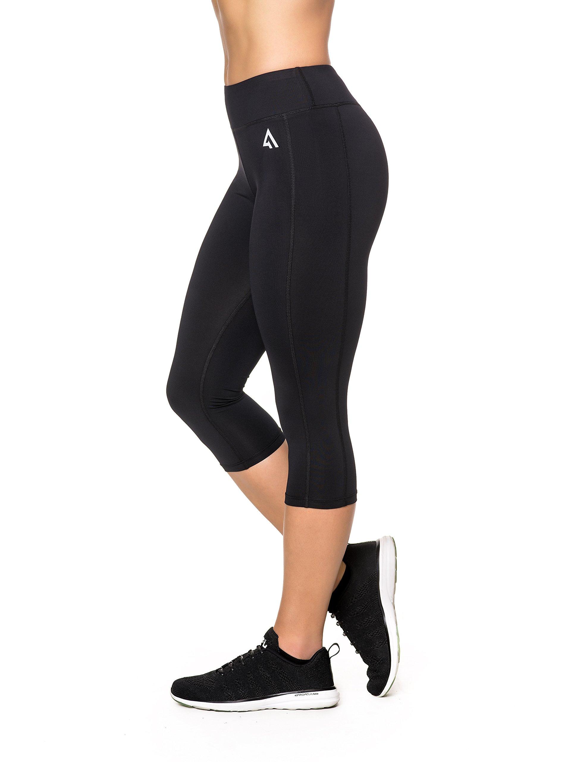 Active1st Women's Yoga Pants Sport Leggings – High Waist, Capri, Tagless
