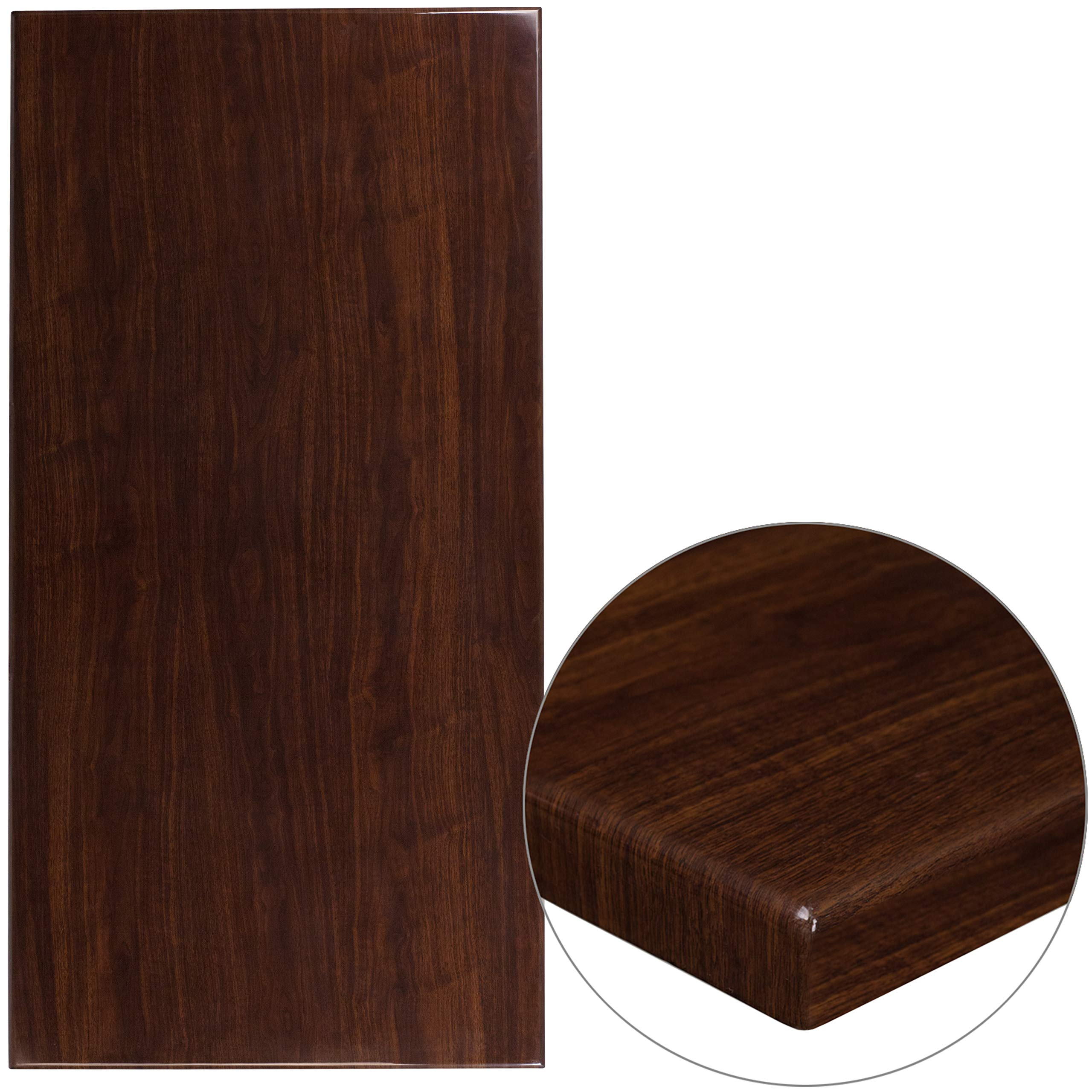 """Flash Furniture 30"""" x 60"""" Rectangular High-Gloss Walnut Resin Table Top with 2"""" Thick Edge"""