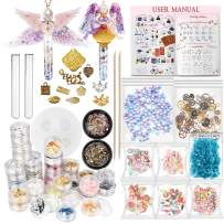 Funshowcase Resin Art Magic Potion Tube and Stopper Epoxy Shaker Silicone Mold Jewelry Casting Kit Set of 61 Supplies Glitter Confetti Crystal Glass Beads Gold Foil Inlay Steampunk Style Charms