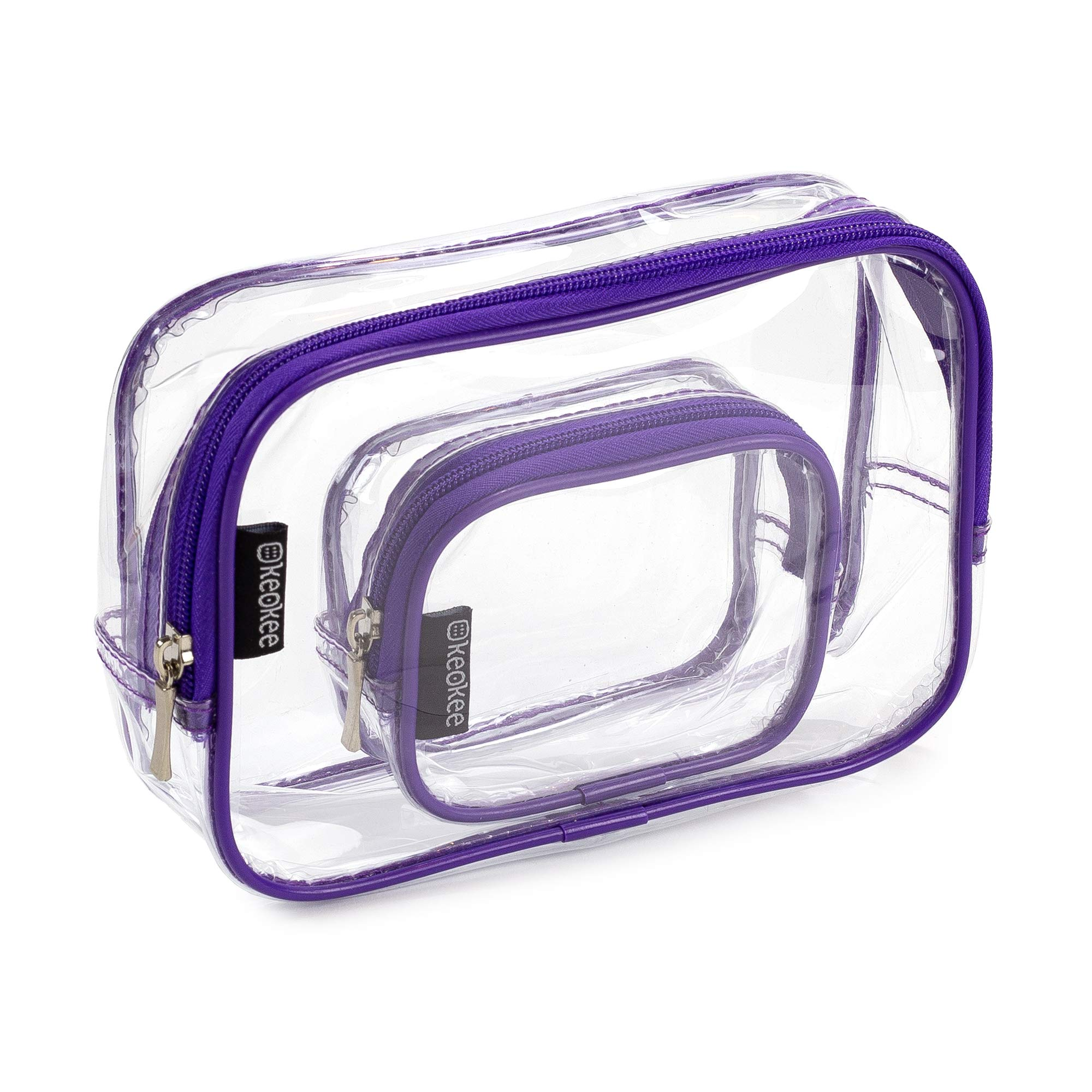 Keokee Clear Toiletry Bag Set, Quart Size with Smaller Case for Travel and Organizing, TSA Approved for 3-1-1 Liquids (Purple)