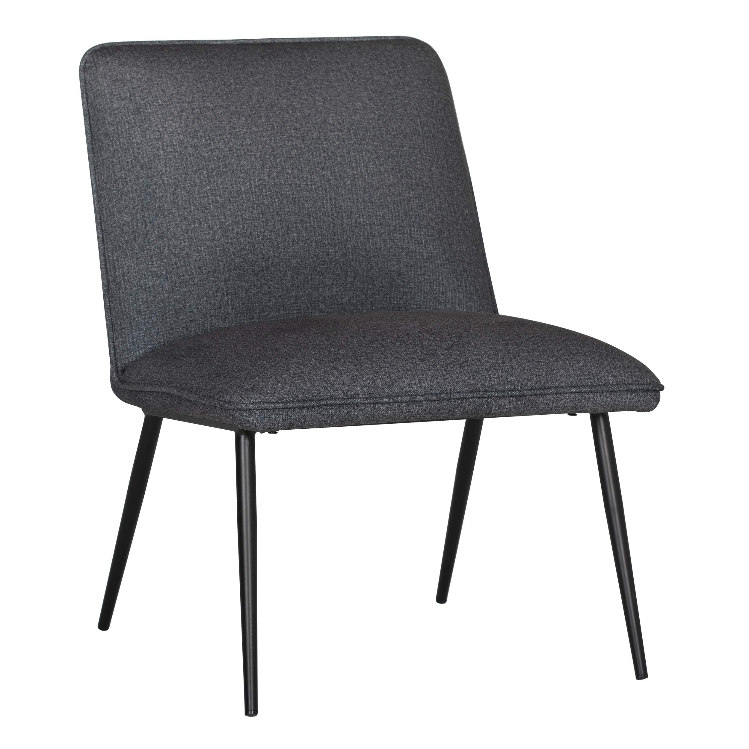 Studio Designs Home Niche Armless Slipper Bedroom Accent Chair with Black Metal Legs and Charcoal Grey Fabric