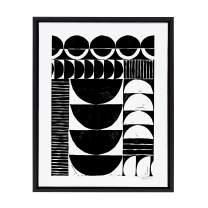 Kate and Laurel Sylvie Modern Circular Block Print Framed Canvas by Statement Goods, 18x24, Black