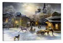 LightFairy Glow in The Dark Canvas Painting - Stretched and Framed Giclee Wall Art Print - Like Oil Painting Christmas Village - Master Bedroom Living Room Decor - 6 Hours Glow - 24 x 16 inch