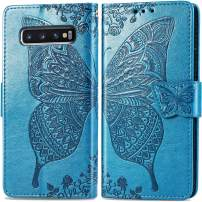 Galaxy S10 Plus Leather Case with Card Holder,S10 Plus Wallet Case,Auker Shockproof Full Body Protection Butterfly Embossed Flip Magnetic Slim Wallet Purse Case with Money Pocket for Women (Blue)