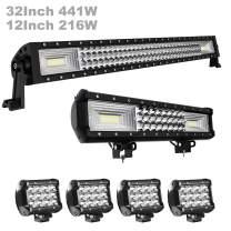 "LED Light Bar KEENAXIS 32 Inch led light bar 405W + 12"" Triple Row Spot Flood Combo LED Driving Lamp Off Road Lights LED Work Light Boat Jeep Lamp,1 Years Warranty"