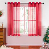 "Top Finel Red Grommet Sheer Curtains 45 Inch Length Faux Linen Solid Window Curtains for Kitchen Bedroom Living Room, 54"" W x 45"" L, 2 Panels"