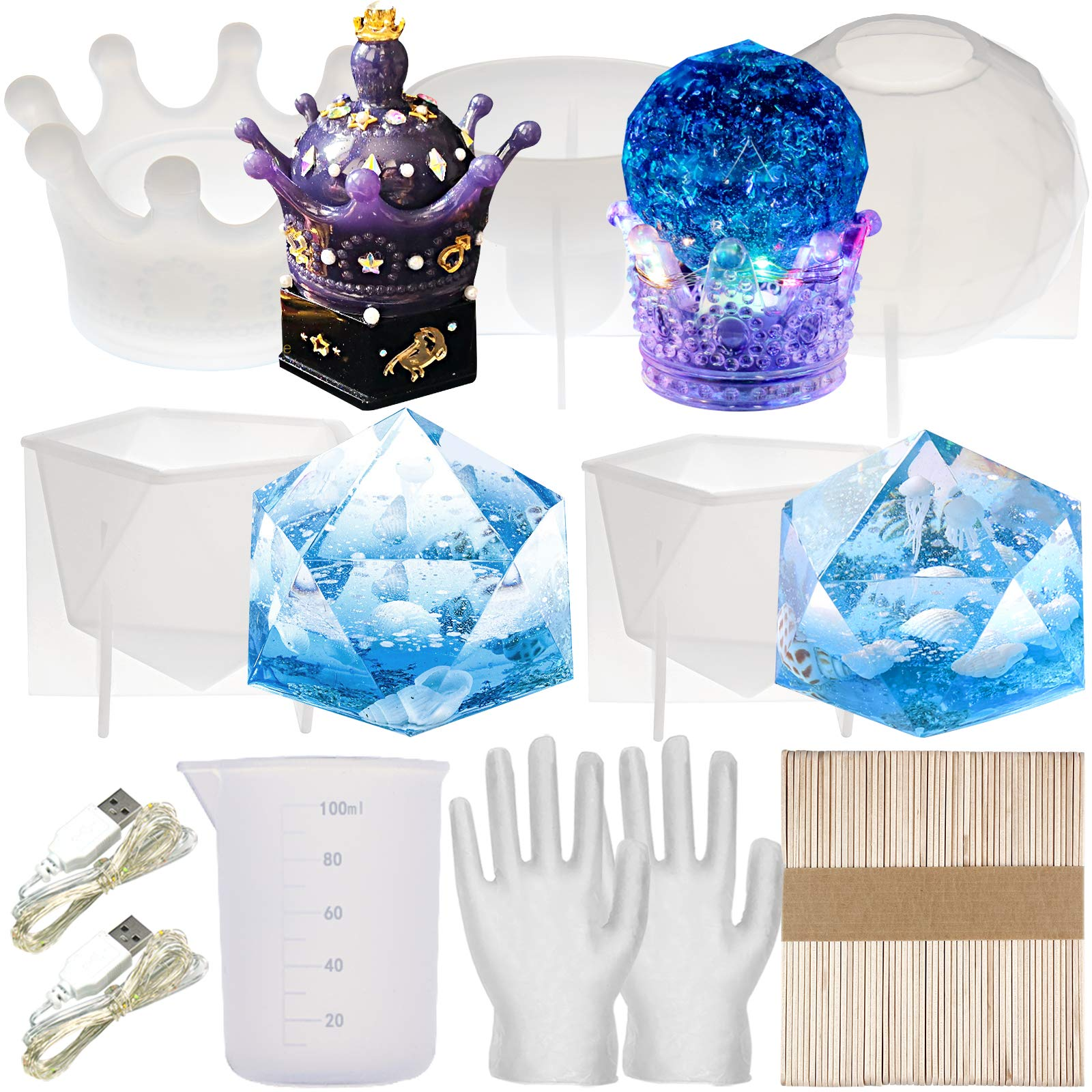 Geometric Epoxy Resin Molds Crown Trinket Box, Finial Diamond Prism, Faceted Crystal Ball Set, Measuring Cup, Wood Sticks, LED Lamp, Gloves for Concrete, Cement, Plaster, Soap Making, Candle Crafts