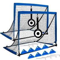 Eazy2hD Portable Soccer Goal, Pop Up Goal Nets with Aim Target, with 8 Agility Training Cones and Portable Carrying Case for Kids & Adults,4' Wide,Set of 2
