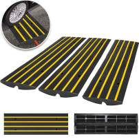Happybuy 3 Pack Driveway Rubber Curb Ramps Kit Heavy Duty Car Threshold Ramp 2.5 Inch High 1-Channel Cord Cover Curbside Bridge Ramp for Loading Dock Garage Sidewalk (1-Channel, 3Pack-Curb Ramp)