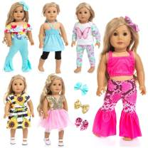 Ecore Fun 14 Pcs 18 Inch Doll Clothes Dresses Summer Casual Wear Oufits Pjs for American 18 Inch Girl Doll Clothes with Hair Clips Birthday Gift for Kids