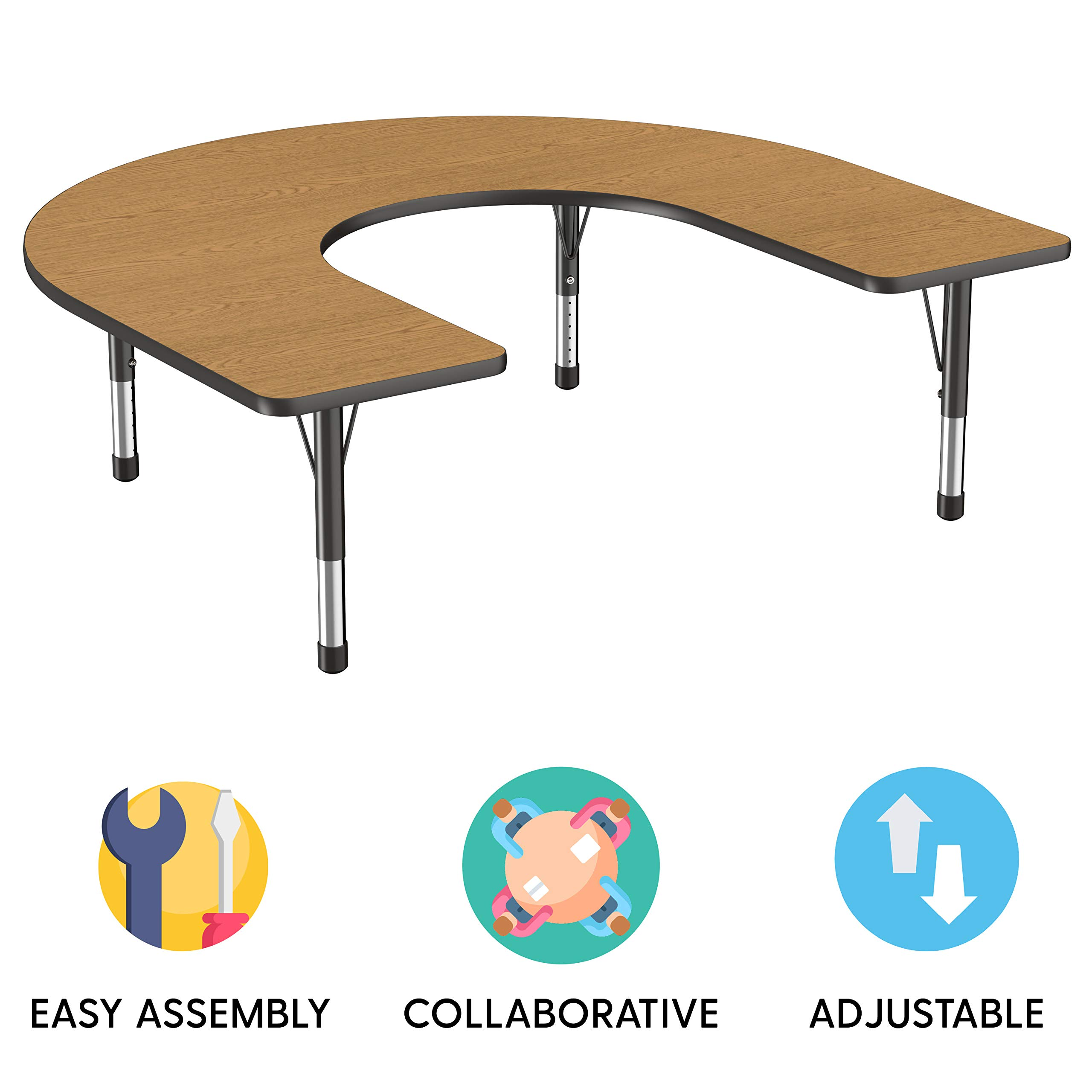 FDP Horseshoe Activity School and Classroom Kids Table (60 x 66 inch), Toddler Legs for Collaborative Seating Environments, Adjustable Height 15-24 inches - Oak Top and Black Edge