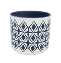 "Amazon Brand – Rivet Mid-Century Diamond-Patterned Stoneware Planter, 6.5""H, Blue and White"